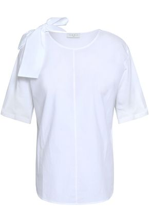 SANDRO Bow-embellished paneled cotton-poplin and jersey top