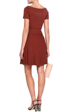 SANDRO Pleated ribbed and pointelle-knit mini dress