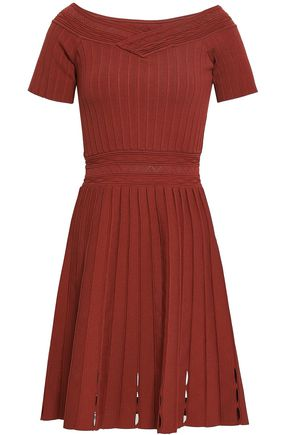 SANDRO Pleated ribbed and pointelle-knit dress