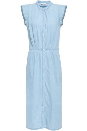 JOIE Cotton and silk-blend chambray midi shirt dress