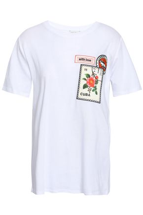 SANDRO Embroidered cotton and modal-blend jersey T-shirt
