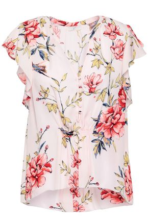 JOIE Ruffled floral-print silk top