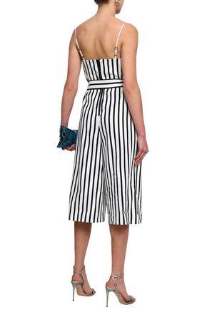 ALICE + OLIVIA Cropped striped linen-blend jumpsuit