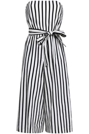 ALICE + OLIVIA Cropped striped linen-blend jumpsuit