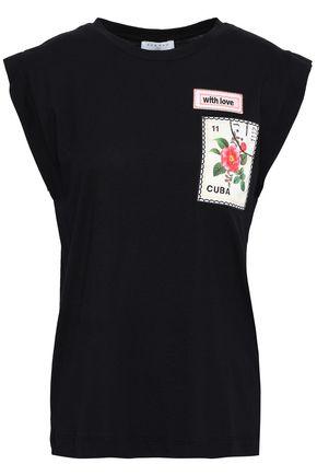 SANDRO Appliquéd cotton and modal-blend T-shirt