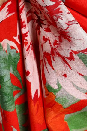 ALICE + OLIVIA Floral-print silk wrap dress