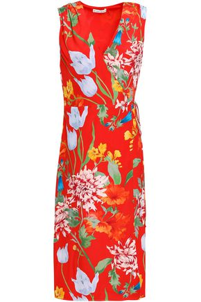 ALICE + OLIVIA Floral-print silk wrap dress