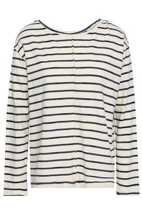J BRAND Striped cotton-blend jersey top