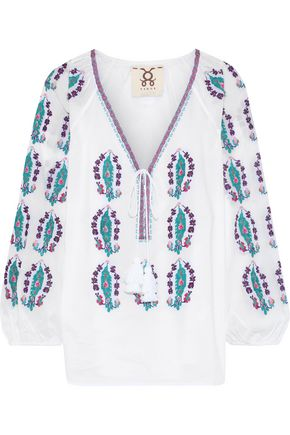 FIGUE Rosette embroidered cotton-voile tunic
