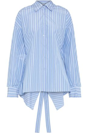 ROSETTA GETTY Tie-back striped poplin shirt