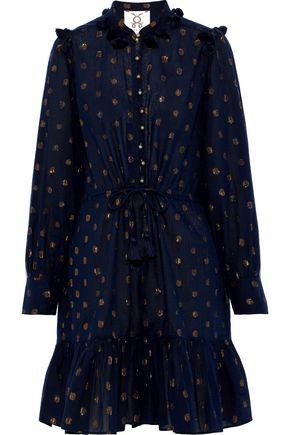 FIGUE Emma tassel-trimmed fil coupé cotton-blend gauze mini dress