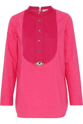 FIGUE Evil Eye piqué-paneled cotton-poplin shirt