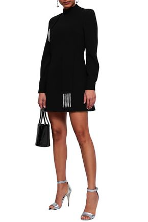 CHRISTOPHER KANE Crystal-embellished wool-crepe mini dress
