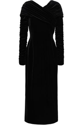 CHRISTOPHER KANE Ruched velvet midi dress