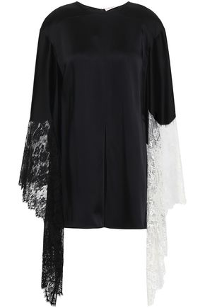 CHRISTOPHER KANE Draped lace-trimmed satin top