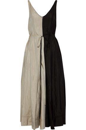 NINA RICCI Pleated two-tone crinkled shell maxi dress