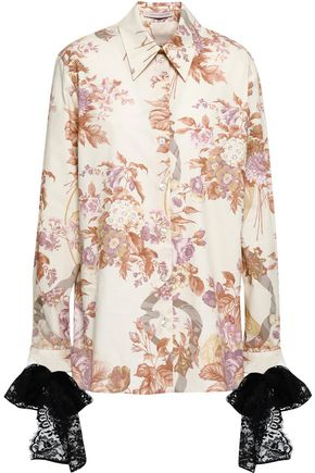 CHRISTOPHER KANE Lace-trimmed floral-print cotton-poplin shirt