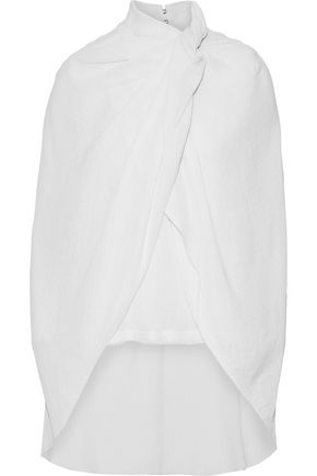 NINA RICCI Cape-back gathered cotton-gauze top