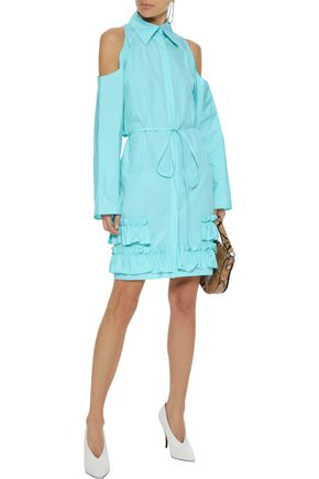 NINA RICCI Cold-shoulder ruffled cotton-poplin dress