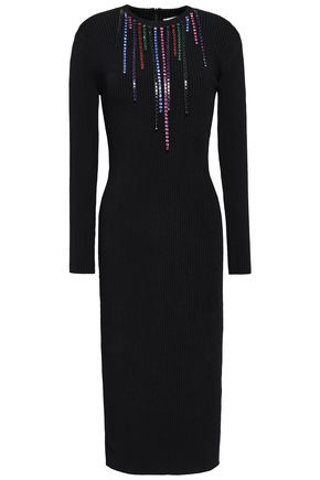 CHRISTOPHER KANE Crystal-embellished ribbed-knit dress