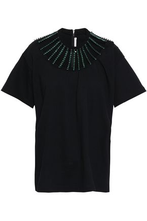 CHRISTOPHER KANE Crystal-embellished cutout cotton-jersey T-shirt