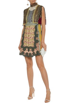 VALENTINO Cape-effect broderie anglaise-paneled embroidered lace turtleneck mini dress