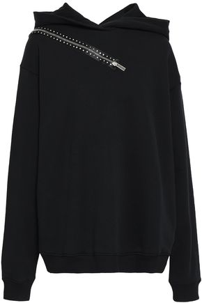 CHRISTOPHER KANE Zip-embellished French cotton-terry hoodie