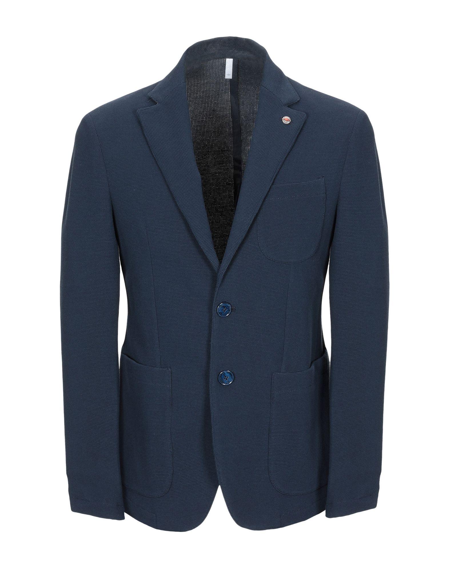 《セール開催中》DOMENICO TAGLIENTE メンズ テーラードジャケット ダークブルー 50 コットン 88% / ナイロン 10% / ポリウレタン 2%