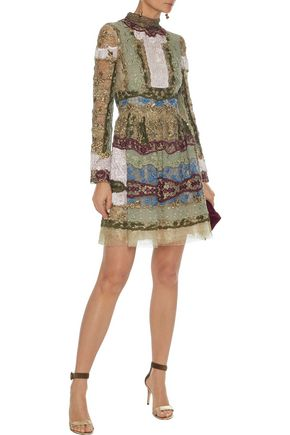 VALENTINO Metallic embellished tulle and organza mini dress