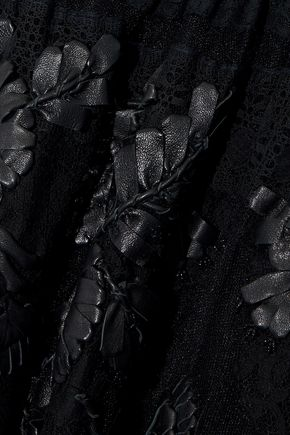 VALENTINO Crochet-paneled leather-appliquéd lace gown