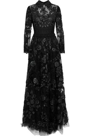 VALENTINO Crochet-paneled leather-appliquéd lace gown