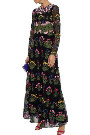 VALENTINO Embroidered cotton-blend guipure lace gown