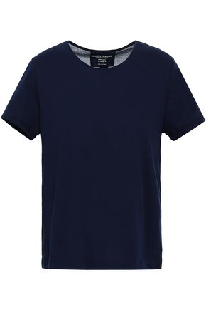 MAJESTIC FILATURES Open-back paneled cotton-jersey and voile T-shirt