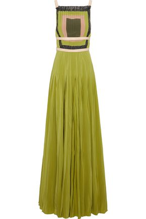 VALENTINO Open-back leather-trimmed pleated silk crepe de chine gown