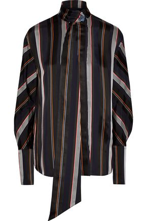 ROKSANDA Mila pussy-bow striped satin blouse