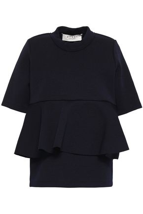 MARNI Ruffled wool-blend top