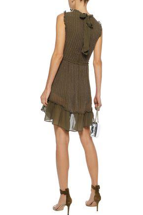 LOVE SAM Bead-embellished georgette mini dress