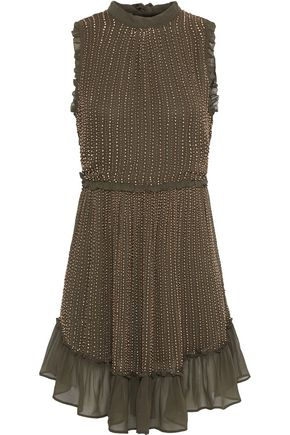 LOVE SAM Bead-embellished georgette mini dress