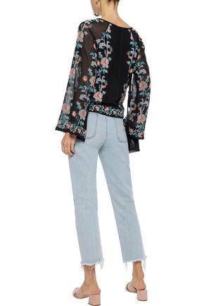 LOVE SAM Embroidered mesh-paneled cotton-gauze blouse