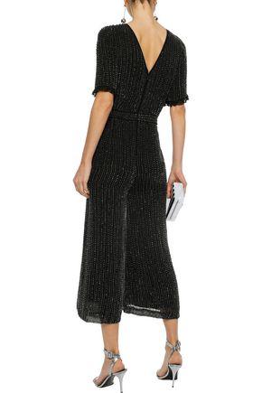 LOVE SAM Cropped bead-embellished georgette jumpsuit