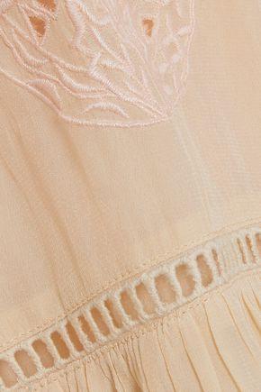 LOVE SAM Tasseled embroidered crepe de chine blouse