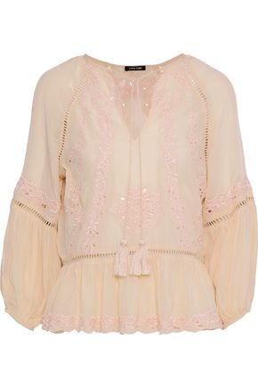 LOVE SAM Tasseled embroidered crepe de chine blouse