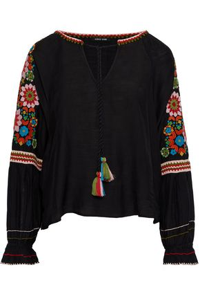 LOVE SAM Tasseled embroidered voile blouse