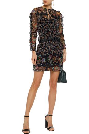 LOVE SAM Lace-trimmed floral-print georgette mini dress