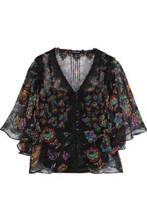 LOVE SAM Lace-trimmed floral-print georgette blouse