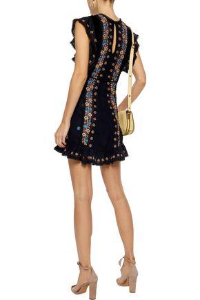 LOVE SAM Velvet-paneled embroidered washed-crepe mini dress