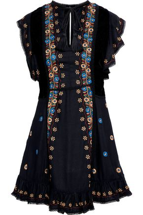 LOVE SAM Velvet-paneled embroidered washed-crepe mini dress