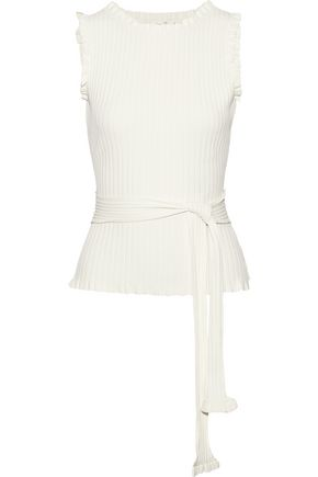 MILLY Tie-front ruffle-trimmed ribbed-knit top