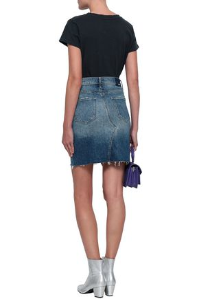 MOTHER Asymmetric distressed denim mini skirt