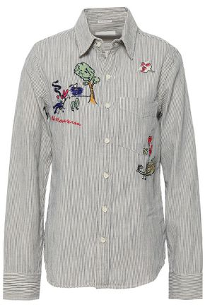 MOTHER Embroidered striped cotton shirt